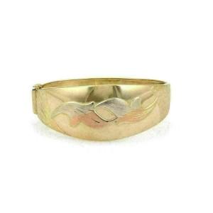 Estate 18k Tricolor Gold Wide Dome Shape Floral Bangle Bracelet