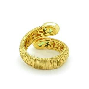Michelle Albala Peridot 18k Yellow Gold Diamond Bypass Textured Band Ring