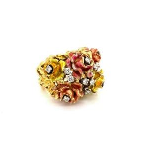 Heavy 18k yellow Gold Enamel & Diamonds Floral Ring