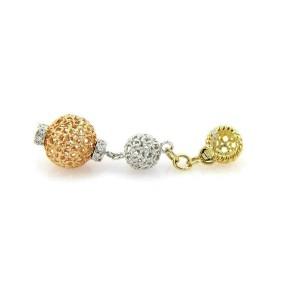 Roberto Coin Diamond 18k Tricolor Gold Mesh Ball Earrings