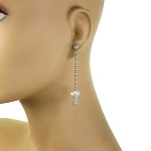 Chantecler 1.22ct Diamond & Clear Quartz 18k Gold Drop Dangle Earrings