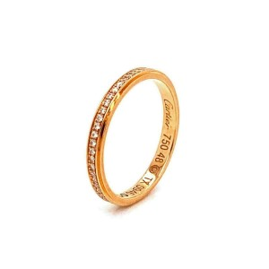 Cartier Diamond d'Amour 18k Pink Gold Band Ring Size 48 w/Cert Rt. $2,870