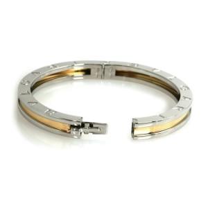Bvlgari B.zero1 Steel & 18k Yellow Gold Engraved Bangle Bracelet