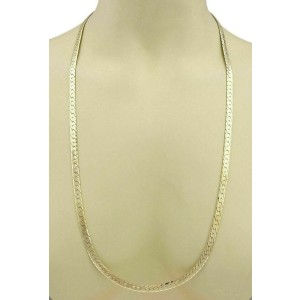 "Herringbone 14k Yellow Gold 5.8mm Wide Necklace 30"" Long"