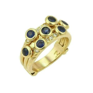 Adler Diamond & Sapphire 18k Yellow Gold 10.5mm Wide Band Ring
