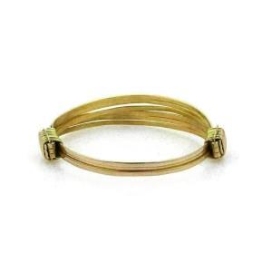 Estate 18k Two Tone Gold Fancy Ribbed Expandable Bangle Bracelet