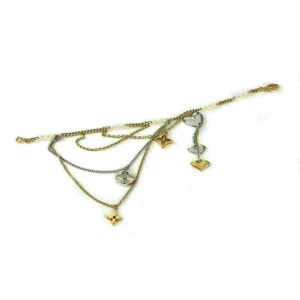Louis Vuitton Monogram Pearls 18k Two Tone Gold Multi-Charms Chain Bracelet
