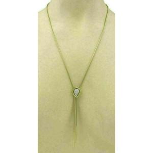 Diamond 14k Yellow Gold Pear Shape Slider Pendant Snake Necklace