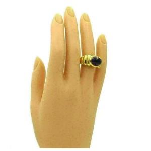 Elizabeth Rand Cabochon Amethyst 18k Yellow Gold Ribbed Ring