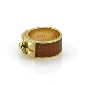 Hermes Collier de Chien Honeycomb Enamel 18k Yellow Gold Band Ring