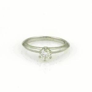 Tiffany & Co. 0.37ct G VS2 Solitaire Diamond Platinum Ring Size 4.5 w/Cert