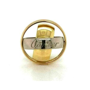 Cartier Signature 18k Tri Color Gold Triple Band Ring Size 53