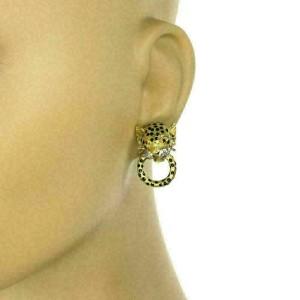 Diamond & Ruby Enamel 18k Gold Leopard Door Knockers Post Clip Earrings