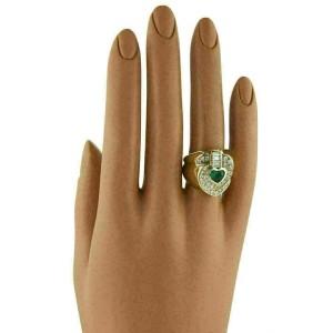 Fancy Heart 1.80ct Diamond & Emerald 18k Yellow Gold Ring