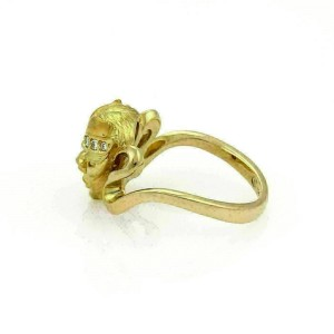 Carrera y Carrera Woman's Masked Face Diamond 18k Yellow Gold Ring
