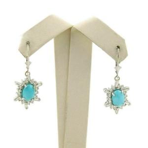 Diamond & Turquoise 14k White Gold Hook Drop Dangle Earrings