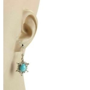 Diamond & Turquoise 14k White Gold Hook Drop Dangle Earrings
