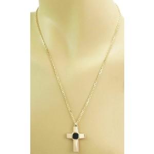 Gucci Onyx 18k Yellow Gold Cross Pendant Necklace