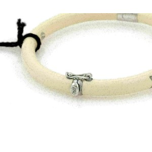 Nouvelle Bague Diamond Off White Enamel 18k Gold /Sterling Bracelet NWT