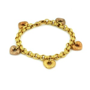 Hand Hammered 19k Multicolor Gold 5 Heart Charms Chain Bracelet