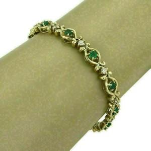 Estate 3.20ct Emerald & Diamond 14k Yellow Gold Scroll Link Bracelet