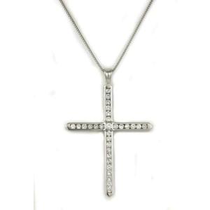 Platinum 1.50ct Diamond Large Cross Pendant Necklace