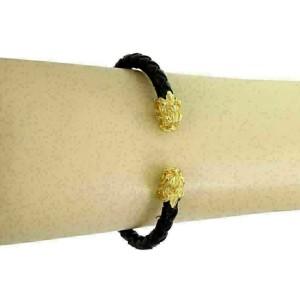 Carrera y Carrera 18k Yellow Gold Woven Leather Cord 2 Dragon Head Cuff Bracelet