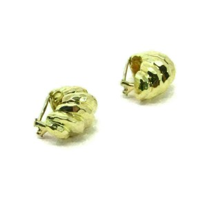Henry Dunay Hammered Shell 18k Gold Oval Curved Clip On Earrings for Non Pierced