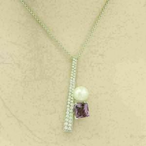 Koesia 18k White Gold 2.50ct Diamond Amethyst 9mm Pearl Pendant & Chain Necklace