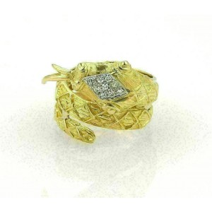 Estate Diamond Coiled Snake 10mm Wide Wrap 18K Yellow Gold Ring