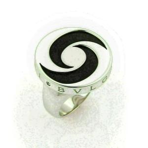 Bvlgari Onyx Spinning Optical 18k Gold & Stainless Steel Ring Size 6.5