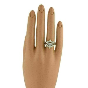 Set of Round & Marquise Solitaire & Insert Diamond 14k Yellow Gold Ring