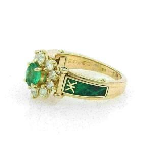 Korloff Diamonds & Emerald Enamel 18k Gold Cocktail Ring