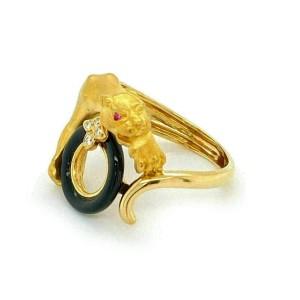 Carrera y Carrera Diamond Onyx Ruby 18k Yellow Gold Panther Ring
