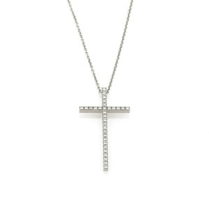 Tiffany & Co. Metro Diamond 18k White Gold Cross Pendant Necklace