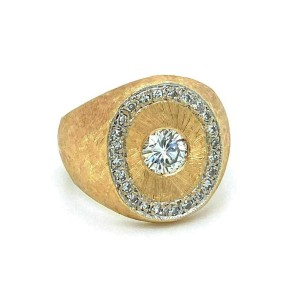 Classic Diamond 14k Yellow Gold Textured Oval Top Ring