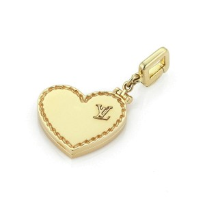 Louis Vuitton 18k Yellow Gold Logo Heart Locket Pendant