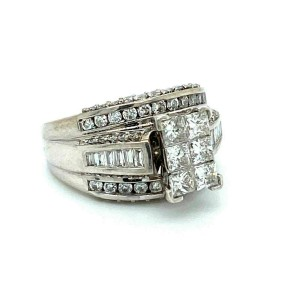 2.00ct Diamond 14k White Gold 3 Row Band Engagement Ring