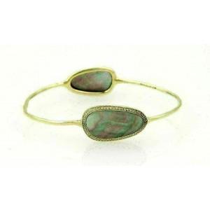 Ippolita Pebble 18k Yellow Gold Pave Diamonds & Mother of Pearl Bangle