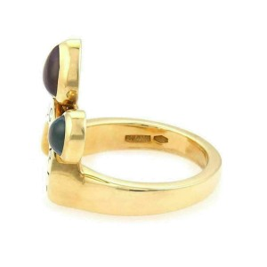Bvlgari Allegra Amethyst Peridot & Blue Topaz 18k Yellow Gold Ring