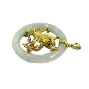 Diamond Ruby Jade 18k Yellow Gold 3D Bull Floral Large Circle Pendant
