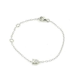 Cartier Diamond Tulip Floral Charm 18k White Gold Chain Bracelet w/Paper