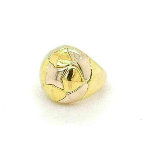 Bvlgari 18k Two Tone Gold Floral Dome Band Ring