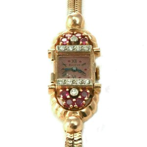 Retro Bulova Diamond & Ruby 14k Rose Gold Hand Wind Ladies Wrist Watch