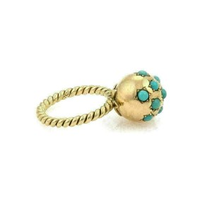Set of 3 Turquoise Ball Wire Cable 18k Yellow Gold Band Rings