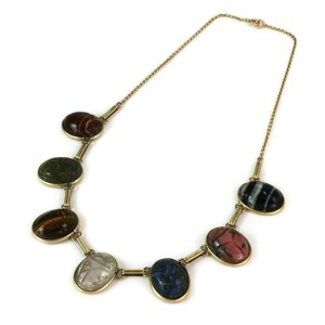 Oval Multicolor 14k Yellow Gold Carved Gemstone Scarab Necklace