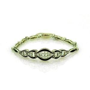 Vintage Diamond & Enamel 14k Yellow Gold Fancy Link Bracelet