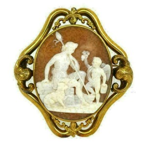 Estate Oval Shell Cameo Mythological 14k Yellow Gold Brooch
