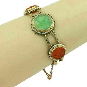 Green Jade Carnelian & Seed Pearl 14k Yellow Gold Bracelet