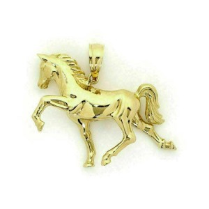 Full 3D Horse Figure 14k Yellow Gold Pendant
